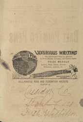Advertisement for a ball point pen, reverse side